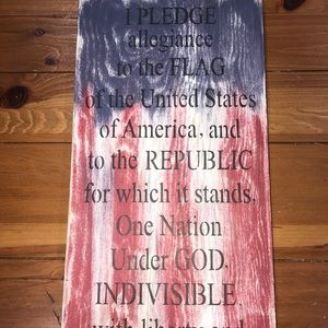 Reclaimed wooden American Flag Sign Pledge